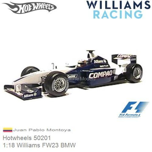 Modelauto 1:18 Williams FW23 BMW | Juan Pablo Montoya (Hotwheels 50201)