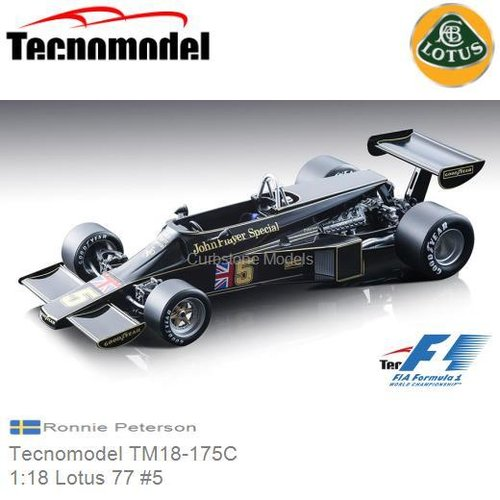 Modelauto 1:18 Lotus 77 #5 | Ronnie Peterson (Tecnomodel TM18-175C)